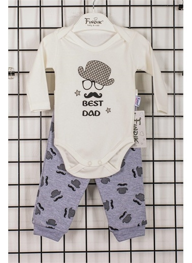 Max Bebek Fındık Baby Best Dad Şapkalı 3'lü Alt Üst Takım 31159 Ekru